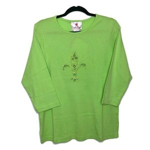 Quacker factory 3/4 cotton lime crystal top M